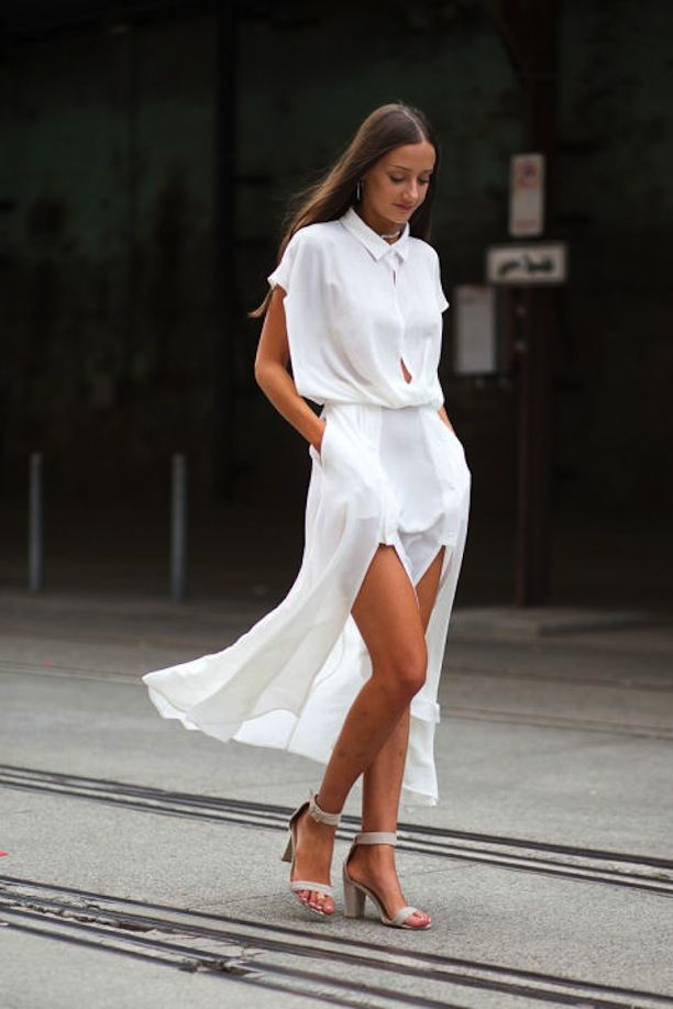White shirt dress grey sandals || Street Style From Australian Fashion Week