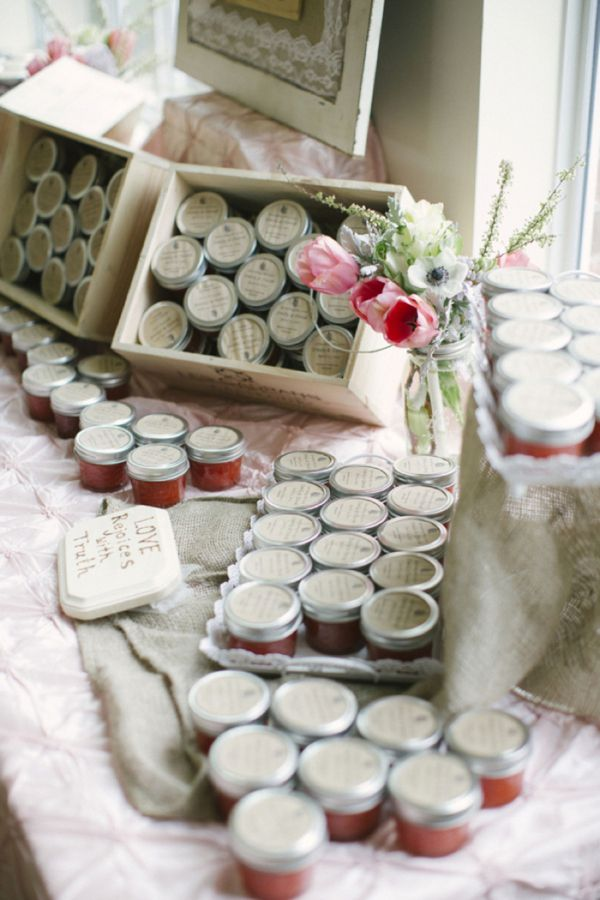 homemade strawberry jam wedding favors