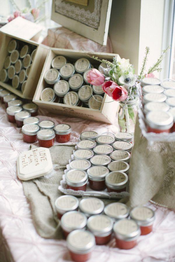 homemade strawberry jam wedding favors