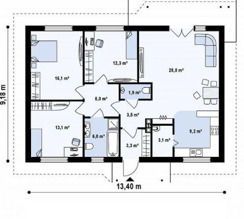 case pe un singur nivel sub 100 de mp Single floor houses under 100 square meters 3