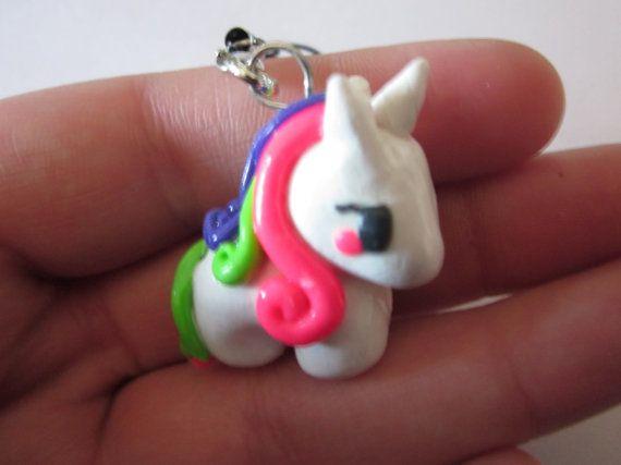 Mini Unicorn Polymer Clay Charm Kawaii Polymer by PorcelainGhosts