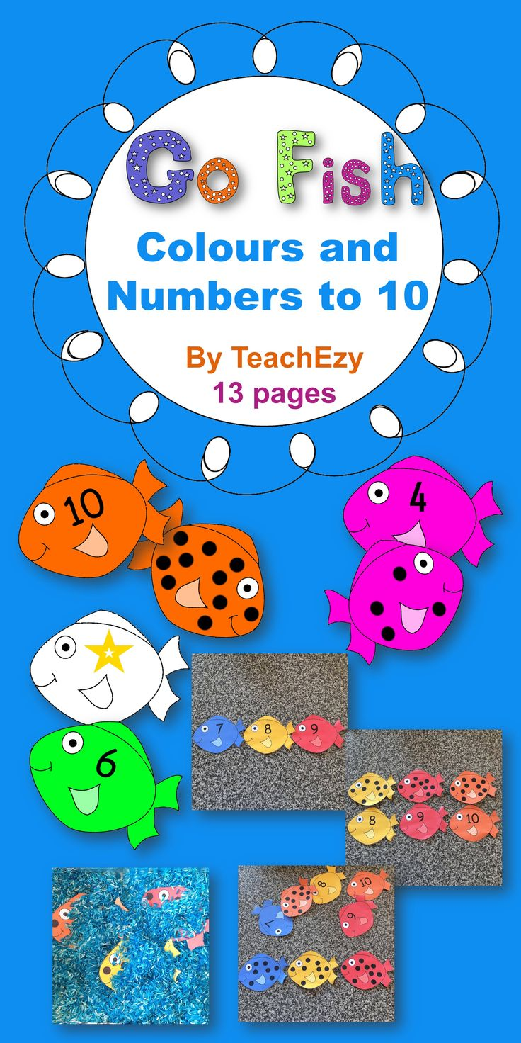 Cute Go Fish colours and numbers to 10 resource.  Great for counting, numeral recognition, patterns, fine motor and more. Linked to Common Core USA, Australian Curriculum and EYLF.