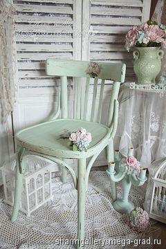 """Винтажный венский стул """"Mint Rose"""". Ручная, авторская работа. - шебби шик, стулья и табуреты ручной работы. МегаГрад - online выставка-продажа авторской ручной работы"""