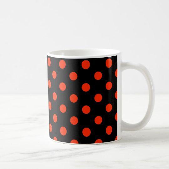 Red dots with black backgroud - geometric design coffee mug
