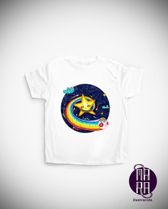 Camiseta Arcoiris para niño Colores disponibles: blanco Edades: 7/8 - 9/11 - 12/14 http://camaloon.es/descubre/artistas/mara-ilustracion/creaciones/zorrito/camisetas-personalizadas/camisetas-infantiles-personalizadas/productos