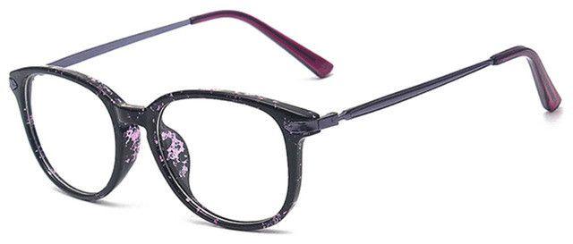 Fashion vintage oval eyeglasses women optical eyewear frame gafas brand nerd Purple Floral eye glasses oculos de grau F15035