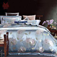 Домашний текстиль европейский синий 100% шелк 25 мм цветочный жаккард пододеяльник наволочки постельные принадлежности лист 4 шт./лот король постельного белья SP2064(China (Mainland))