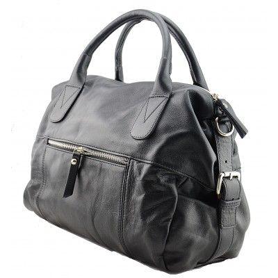 Italian Made, Genuine Leather Handbag -  Flora Black Sky