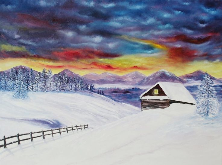 Original Oil Painting 18x24 Canvas Snow Cabin Winter