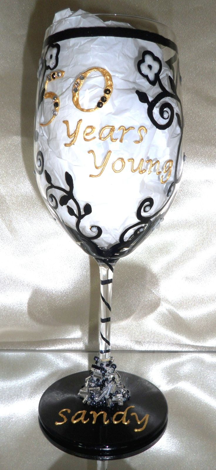 Personalised Hand Painted Wine Glass