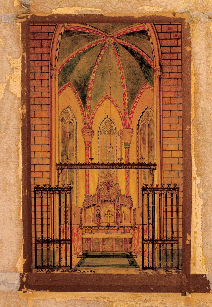 Historic Architectural Rendering of Church Interior by Conrad Schmitt Studios, Inc.