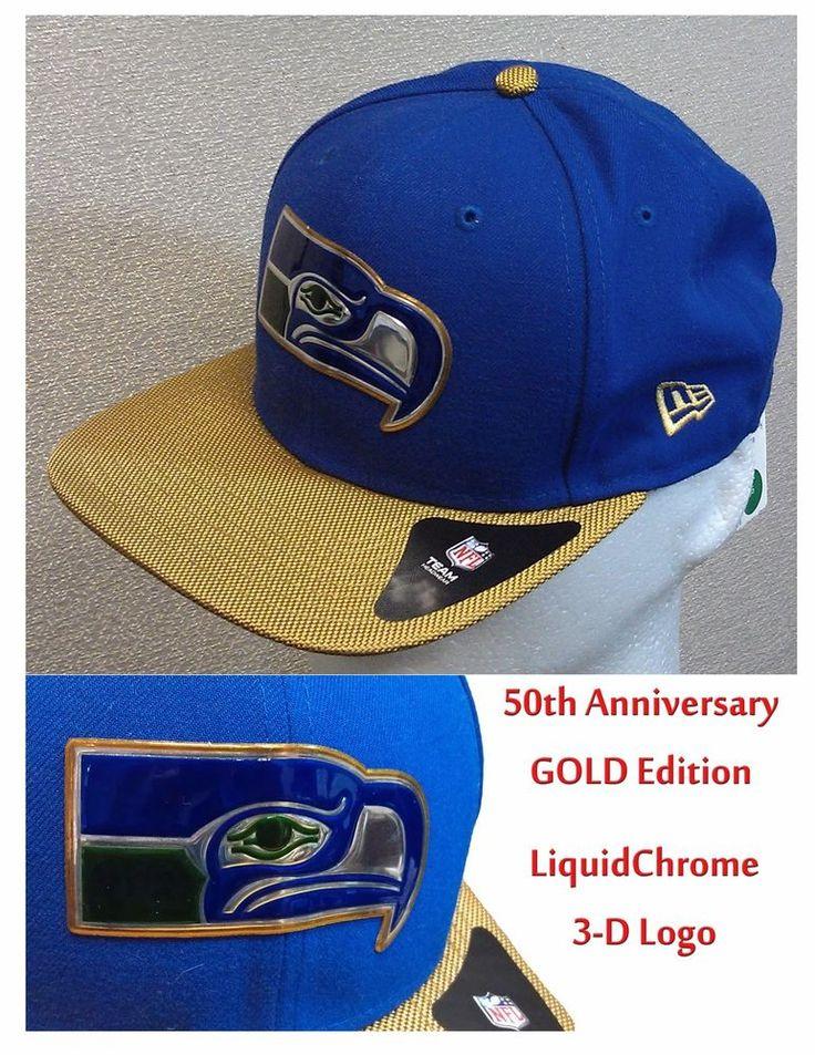 $26.99 Free Ship Seattle Seahawks NFL 50th Gold Anniversary Cap New Era 9Fifty Snapback One Size #NewEra #SeattleSeahawks #snapback #Seahawks