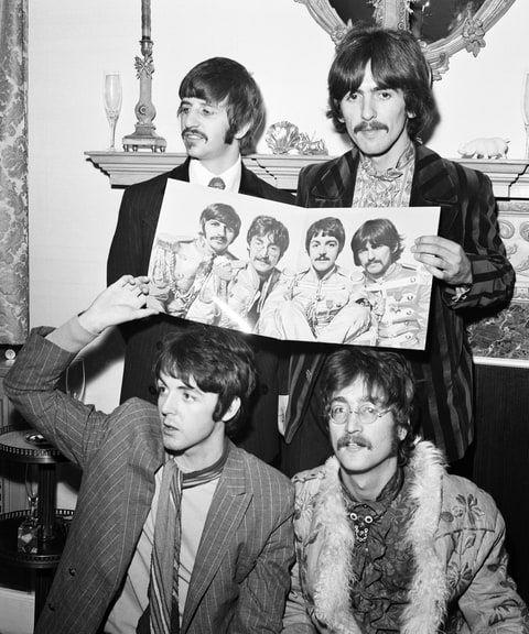 The Beatles på 'Sgt. Pepper' presse lancering i maj 1967