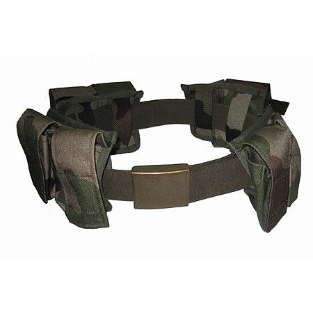 French Webb Belt with Brass Buckle and 4 Camo Pouches - MILITARIA - MILITARY BELTS - Camping Military Tactical Equipment   Army Surplus   Safety Workwear