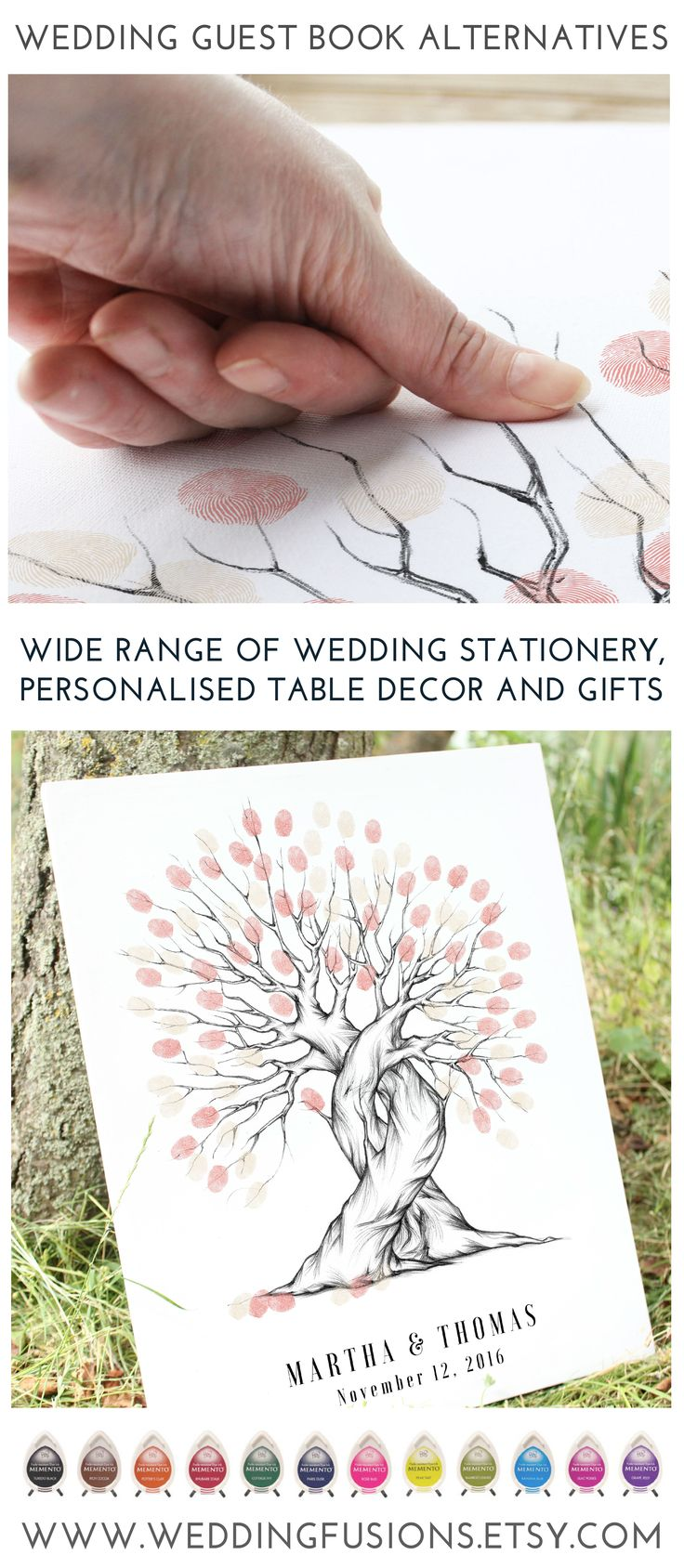 Wedding tree ideas. Fingerprint trees make fantastic alternative wedding guest books - and are beautiful wedding keepsakes.