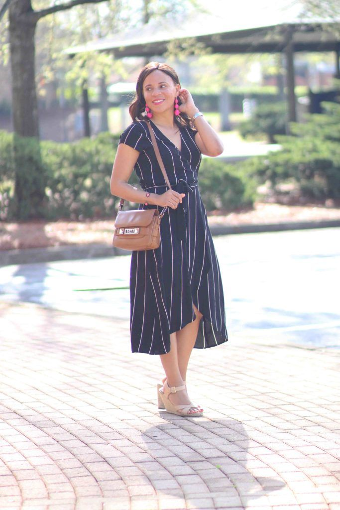 loft striped midi dress, bauble bar cripsin earrings, spring casual outfit, spring date outfit