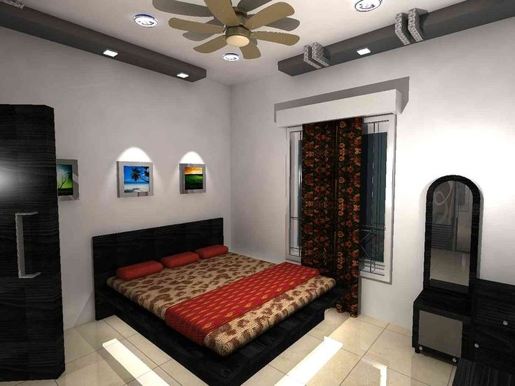Bedroom with curtains and painting design by ramesh iyer - Interior design for bedroom in india ...