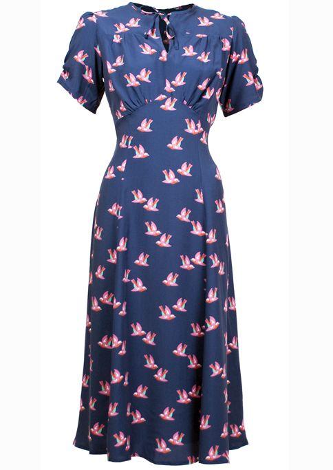 40s Tea Dress - Little Bird and limited edition - love thie neckline