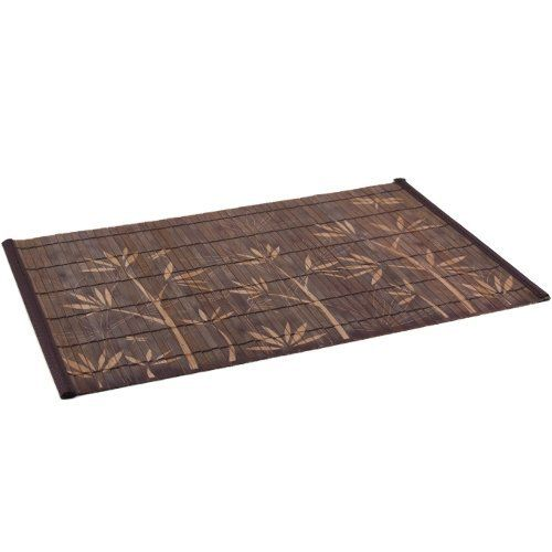 Dark Brown Bamboo Placemat with Plant Pattern, Set of 4 by BigKitchen. $11.99. Roll up for compact storage. Large strips. Bamboo Placemat, Set of 4. Add a little Asian style to the table with this set of bamboo placemats. The set contains four placemats, which feature a plant pattern stenciled right into the dark brown stain and are made up of large strips. Great for having guests over or for Asian cuisine dinners, they roll up nicely for compact storage.