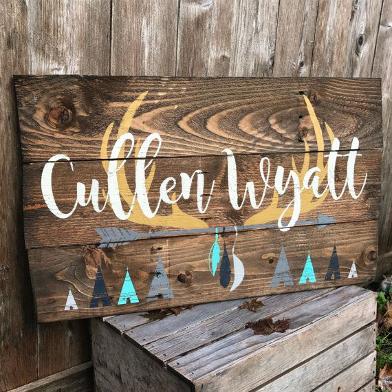 Rustic Large Nursery Name Arrow And Antlers By