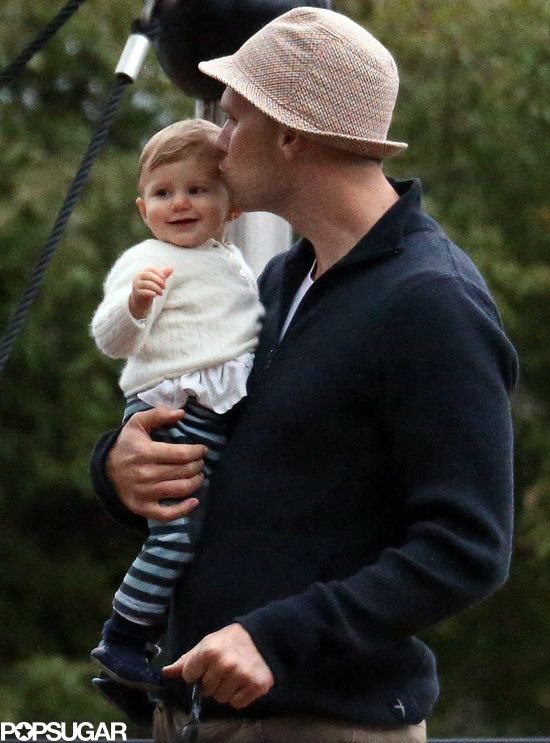 Tom and Gisele's Picture-Perfect Fall Family Day Might Make Your Heart Explode: Gisele Bündchen planted a smooch on her son Benjamin Brady in Boston. : Tom Brady kissed his baby girl, Vivian.