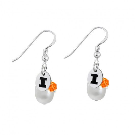 Illinois Fighting Illini Color and Freshwater Pearl Earrings