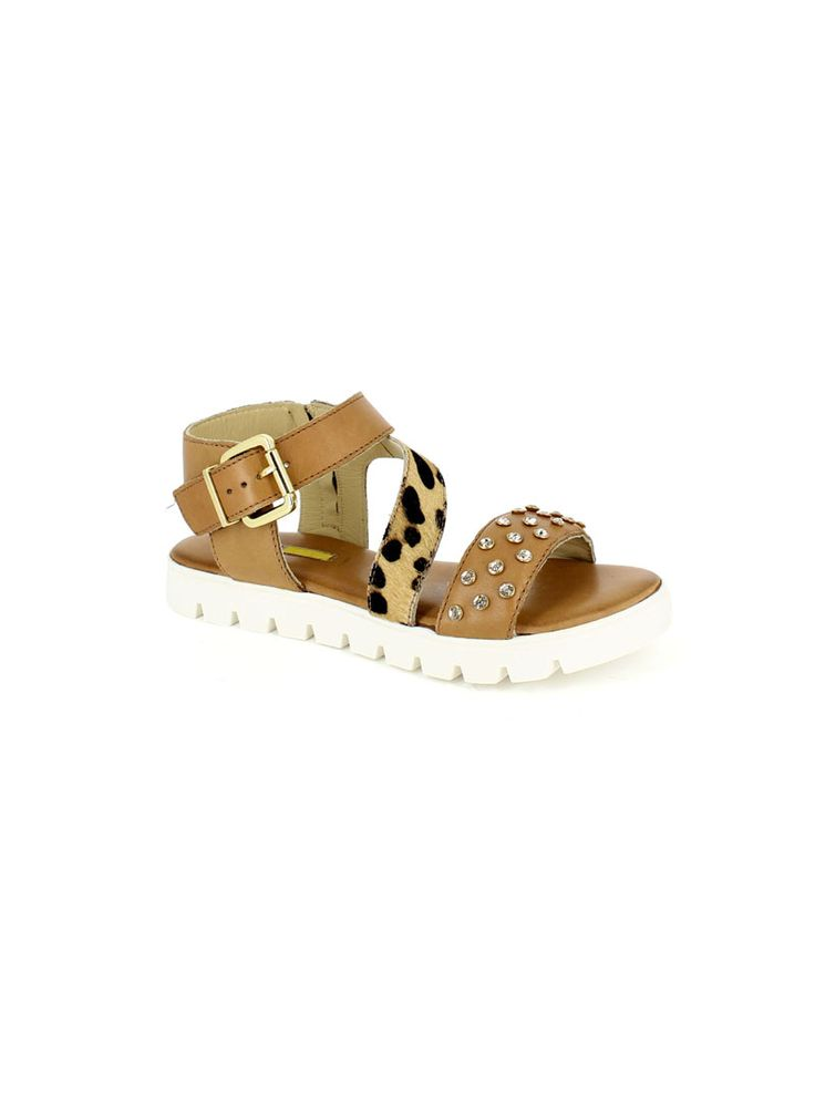 SANDALI PATRIZIA:sandalo in pelle con cinturino e fibbia laterale, accessori decorativi in metallo, fondo in gomma, tacco 20 mm #Manas #Sandals #Summer #Flat #Urban #Casual
