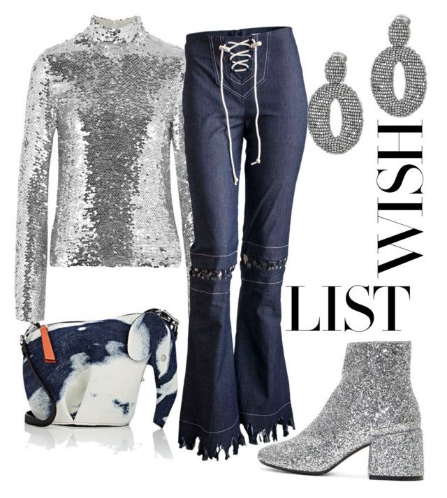 """glitter & denim"" by constantinerenakossy on Polyvore featuring MM6 Maison Margiela, MSGM, Loewe and Oscar de la Renta"