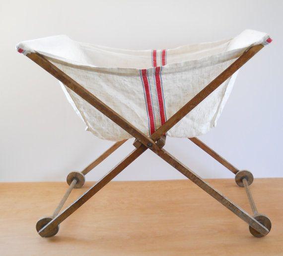 vintage rolling laundry basket primitive by