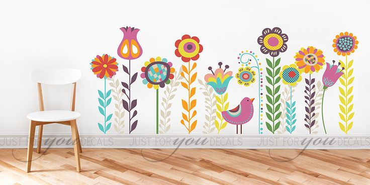 Nursery Wall Decal - Flower Wall Decal - Children's Room Wall Decal - Abstract - Wall Sticker - Custom Decal Wall Graphics - 06-0004 by justforyoudecals on Etsy https://www.etsy.com/listing/204903425/nursery-wall-decal-flower-wall-decal