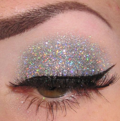 make-up, eyes, glitter, silver