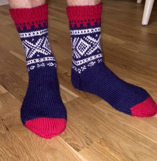 Hand Knitted White,Red and White Socks - Winter Socks Scandinavian Nordic - Marius Pattern - UNISEX