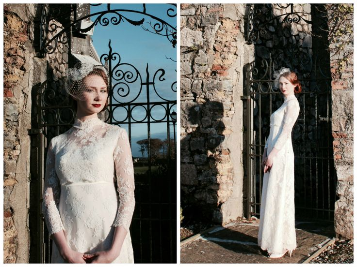 Exquisite 1940s lace high neck vintage wedding dress. Size 8. www.vintagepearlbridal.ie