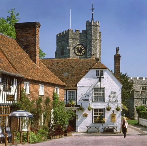 The Square at Chilham Kent, England. The square was turned back to a village green for the Miss Marple episode: 'Murder at the Vicarage' A picture of: Chilham, Kent