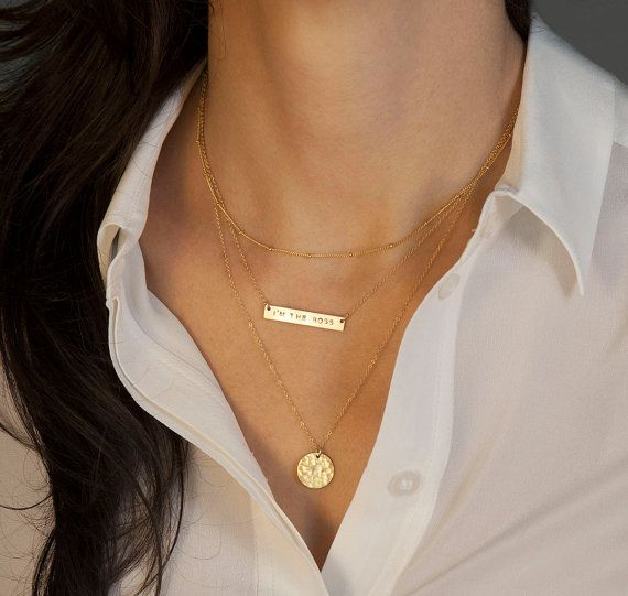 Gold Bar Necklace Layered Necklaces Set W Initial