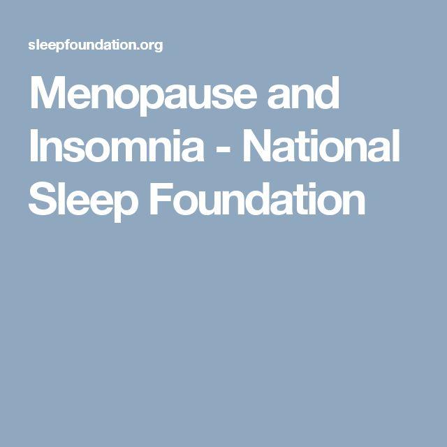 Menopause and Insomnia - National Sleep Foundation