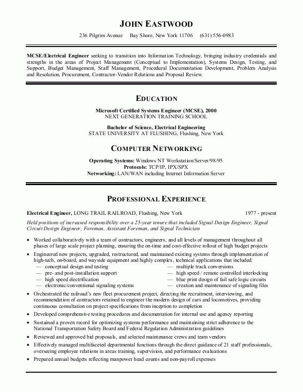 49 best Resume Example images on Pinterest Resume examples - electrical engineer sample resume