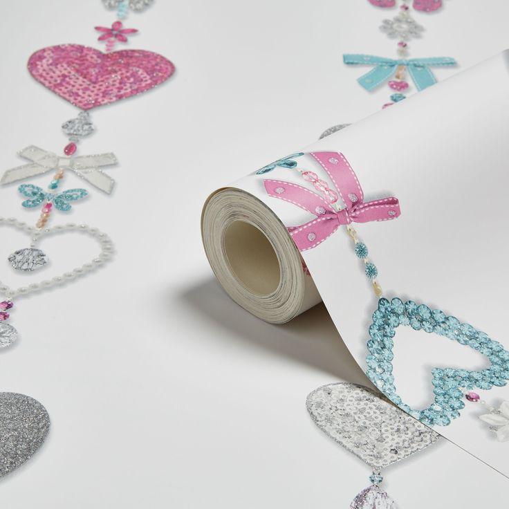 Tiffany White Hearts & Bows Glitter Effect Wallpaper | Departments | DIY at B&Q