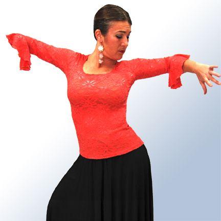 47,95€ | Top Raices de Encaje Elastico Lara color Coral | Volante en manga | Baile flamenco dance | Coral colour Lara stretchable lace Raices top