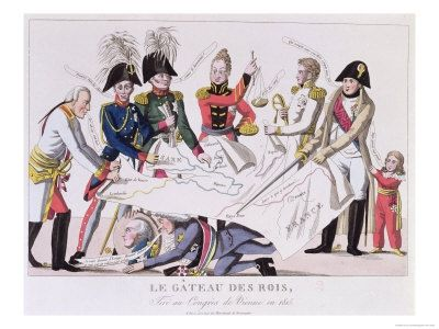 The Kings' Cake being Cut at the Congress of Vienna (November 1814-June 1815), L. to R. Emperor Francis I of Austria (1768-1835); King Frederick William II