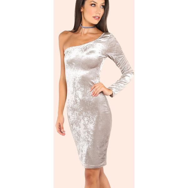 One Shoulder Velvet Bodycon Dress SILVER ($22) ❤ liked on Polyvore featuring dresses, silver, silver cocktail dress, one shoulder cocktail dress, silver bodycon dress, one shoulder bodycon dress and pink cocktail dress