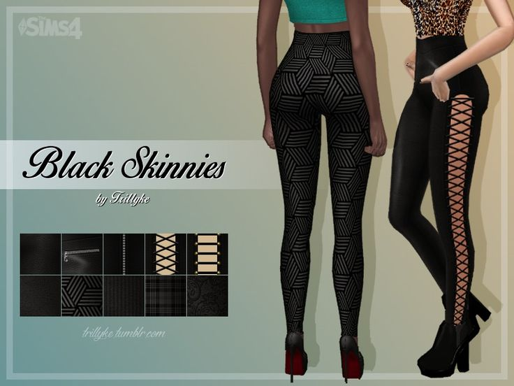 It is a black skinny pants set, including 10 swatches - 5 of them are leather(ish) with different designs and cut-outs, 5 of them have different patterns and textures on them.  Found in TSR...