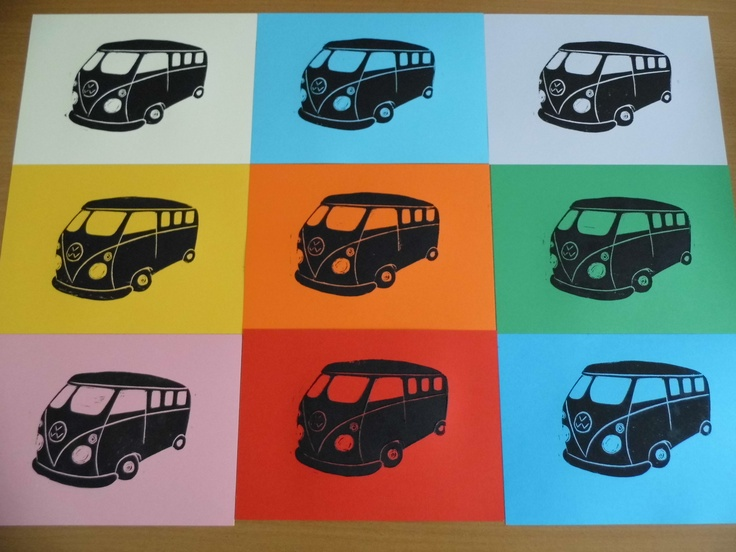 Campervan original lino prints, signed & dated. Printed on to A5 size card £10 + p  Sussexartstudio