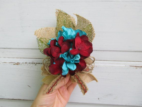 Shabby Chic Burlap Corsage with Turquoise and Deep Red Rustic Country Chic  Wedding Baby Shower