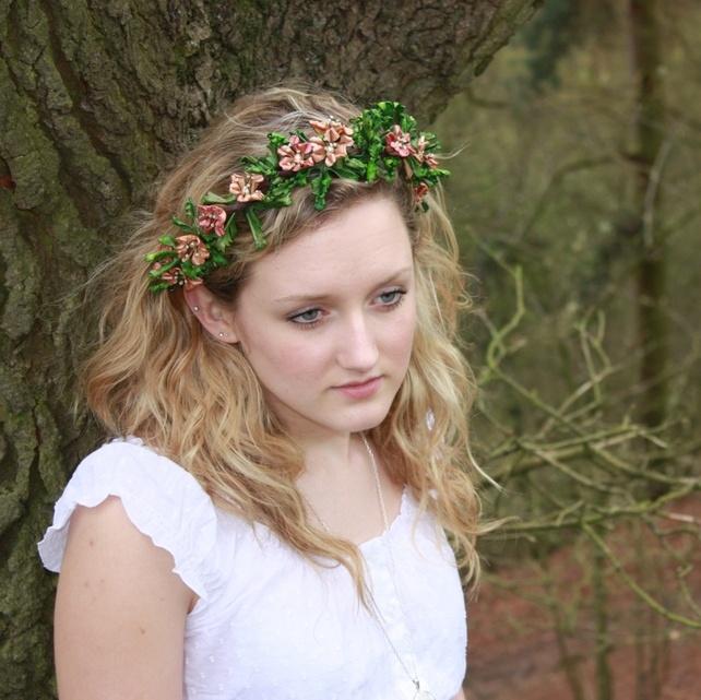 Hedgerow Leather Floral Wreath - peach £49.00