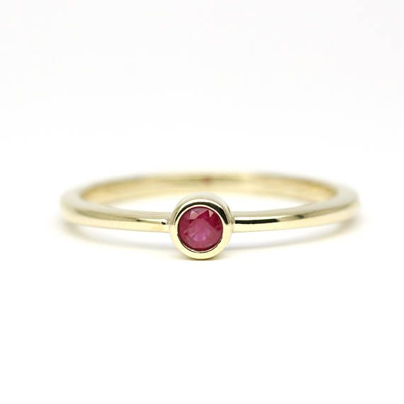 Ruby Ring Solitaire Ruby Ring Simple Engagement ring Red