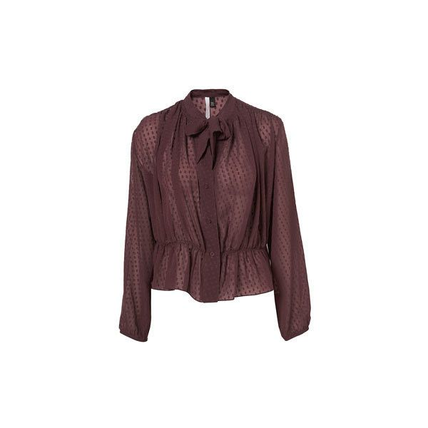 Pussybow Blouse By Boutique ($125) ❤ liked on Polyvore featuring tops, blouses, brown polka dot blouse, viscose blouse, brown top, bow neck top and polka dot top