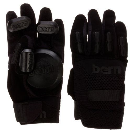 Bern Longboard Glove by Bern. $39.99. Backhand knuckle protection. Supportive Wrist Wrap Closure. Burley Synthetic Leather w/ Reinforced Fingers. Adjustable and Replaceable slider pucks. BERN delivers the most unique and functional Longboard glove in the market. Split finger Design alongside a new concept for the Thumb slider gives you more options for laying out your turns and slide control style