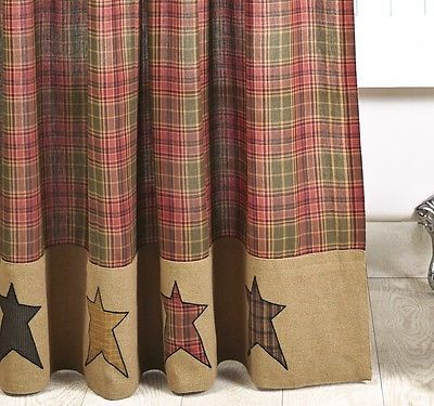 PRIMITIVE BURLAP STAR SHOWER CURTAIN : CABIN RUSTIC RED TAN BROWN PLAID