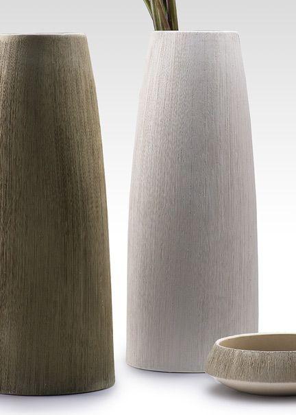 15-inch Textured Ceramic Vases & 6-inch Bowl